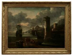Cabel, Adriaen van der (Attrib.): Hafen mit anlegendem