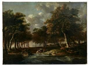 Landschaft mit Pferdefuhrwerk an der Traenke, Haarlemer