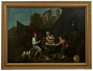 Baeuerliche Familie in einem Innenhof, Deutsche Schule,