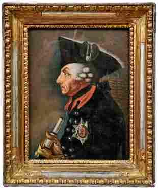 Friedrich II. im Profil und mit Fernrohr, E. 18. Jh.