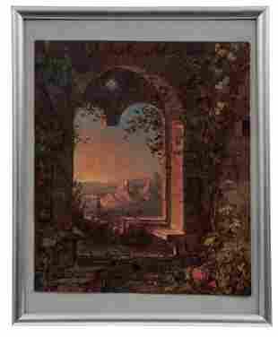Blick aus einem Fenster auf eine Burgenlandschaft,