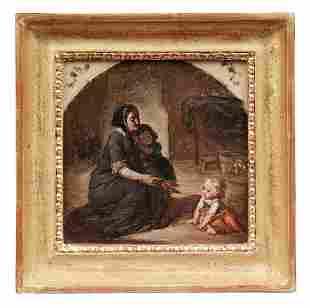 Mutter mit zwei Kindern in der Stube, 19. Jh.