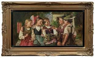 Adler, Edmund: Vier froehliche Kinder mit Lampions und