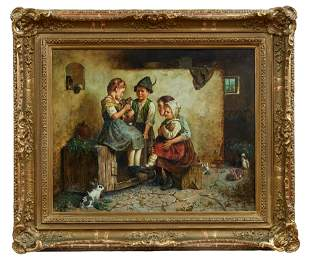 Adler, Edmund: Vier Kinder im Hasenstall