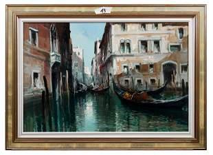 Simonetti, Claudio: Gondeln in einem Kanal in Venedig