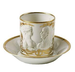 Tasse mit Portrait des preussischen Koenigspaares und