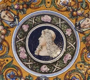 Zierteller mit Dekor im Stil italienischer Majolika,