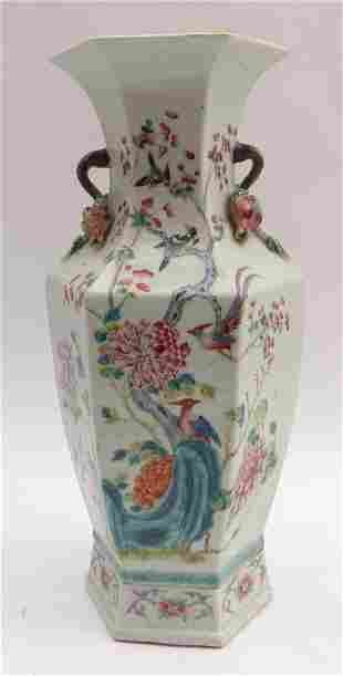 Sechskantvase mit Vogeldekor, China, Qing-Dynastie -