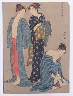 Torii Kiyonaga: Drei Frauen nach dem Bade