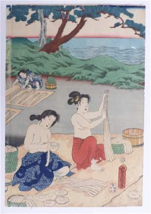 Utagawa Kunisada (Toyokuni III.): Frauen am Strand