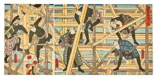 Utagawa Kunisada (Toyokuni III.): Szene auf dem Geruest
