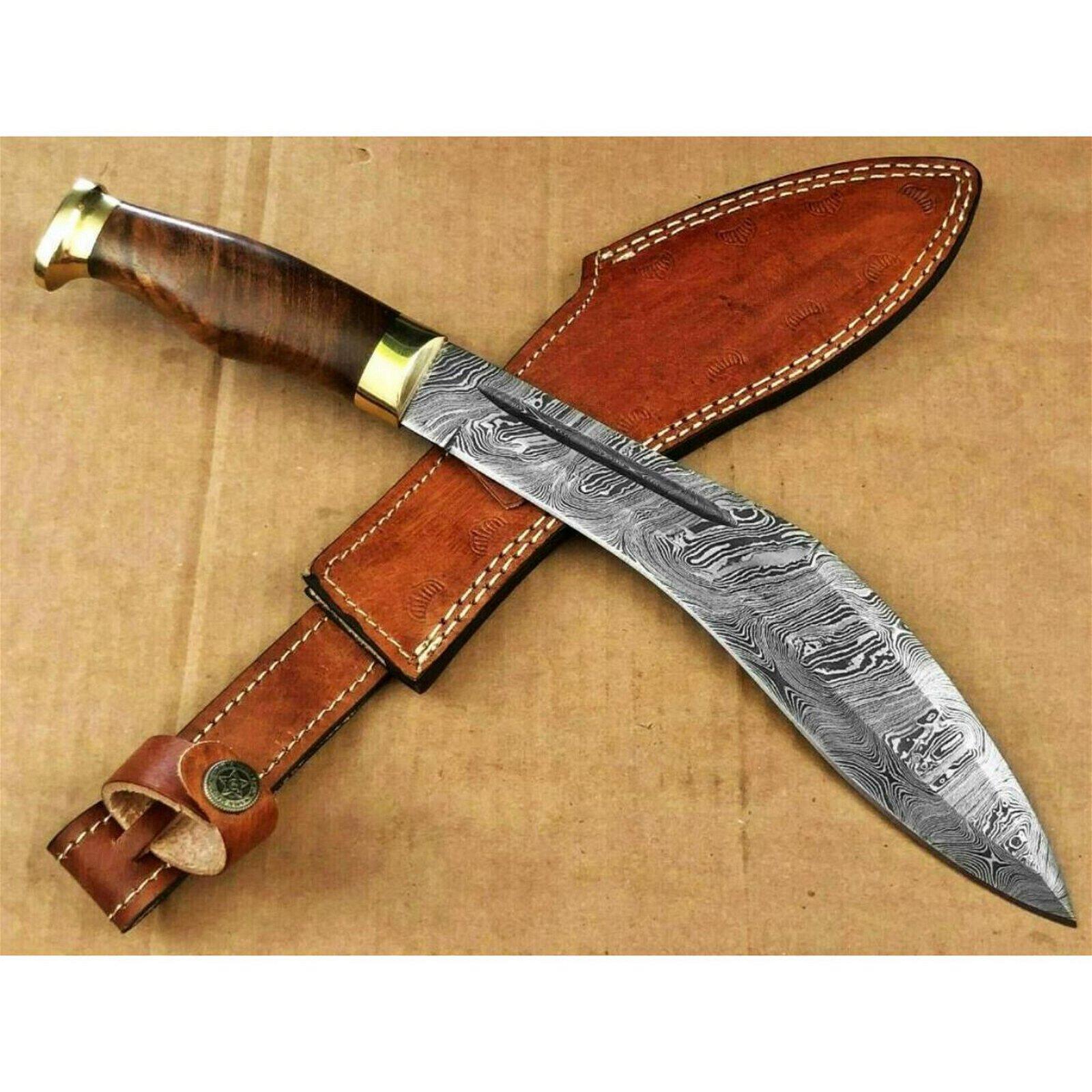 Ash da91 damascus steel custom handmade hunting kukri