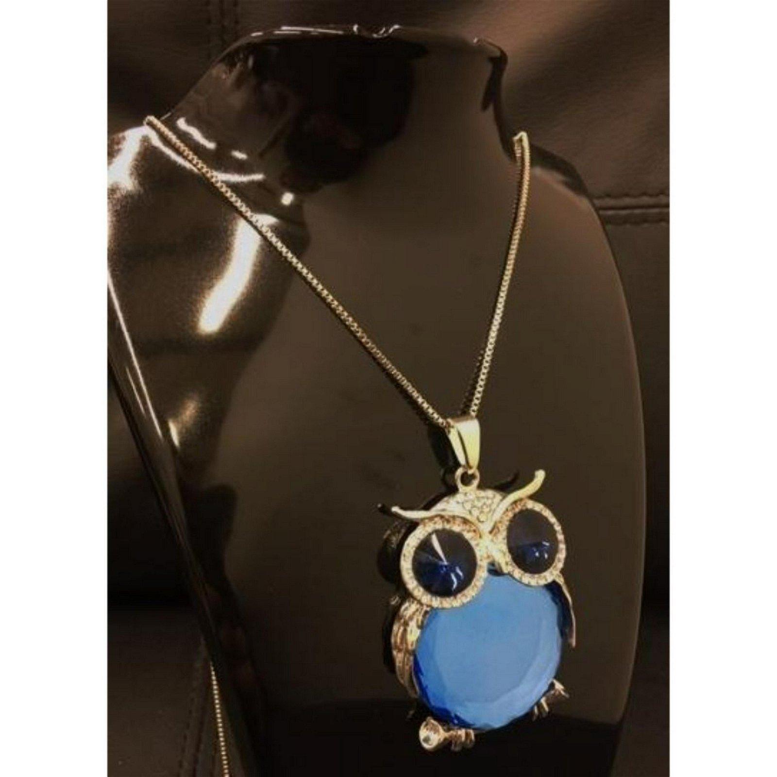 Semi Precious Blue Stone Owl Pendant Cuban Chain