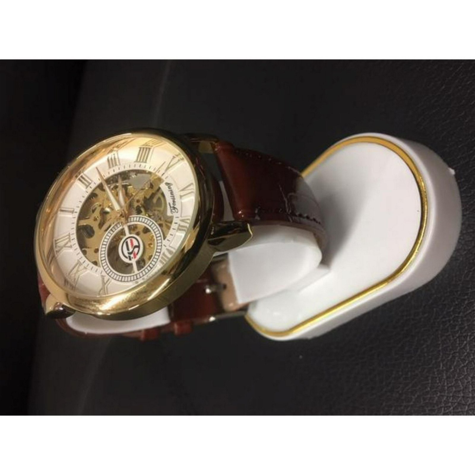 Forsining Wrist Watch Skeleton Dial with Mechanical