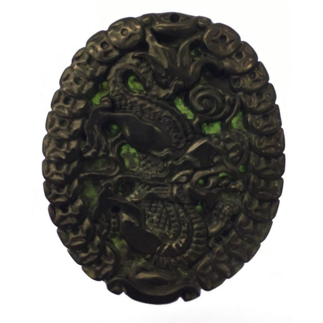 Asian Green Jade Carved Dragon Medallion