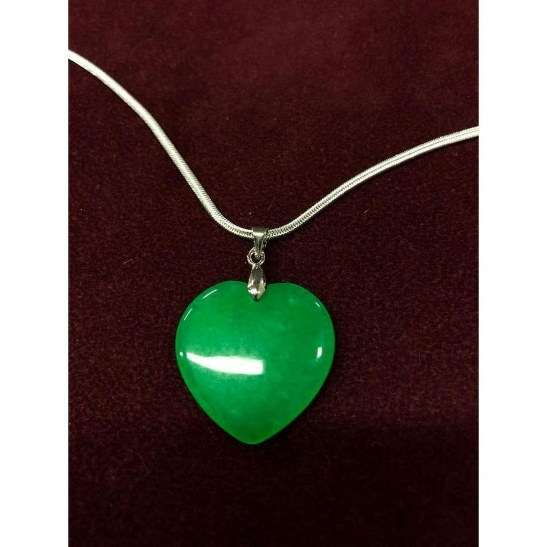 Chinese Green Jade Heart Pendant on a 925 Necklace