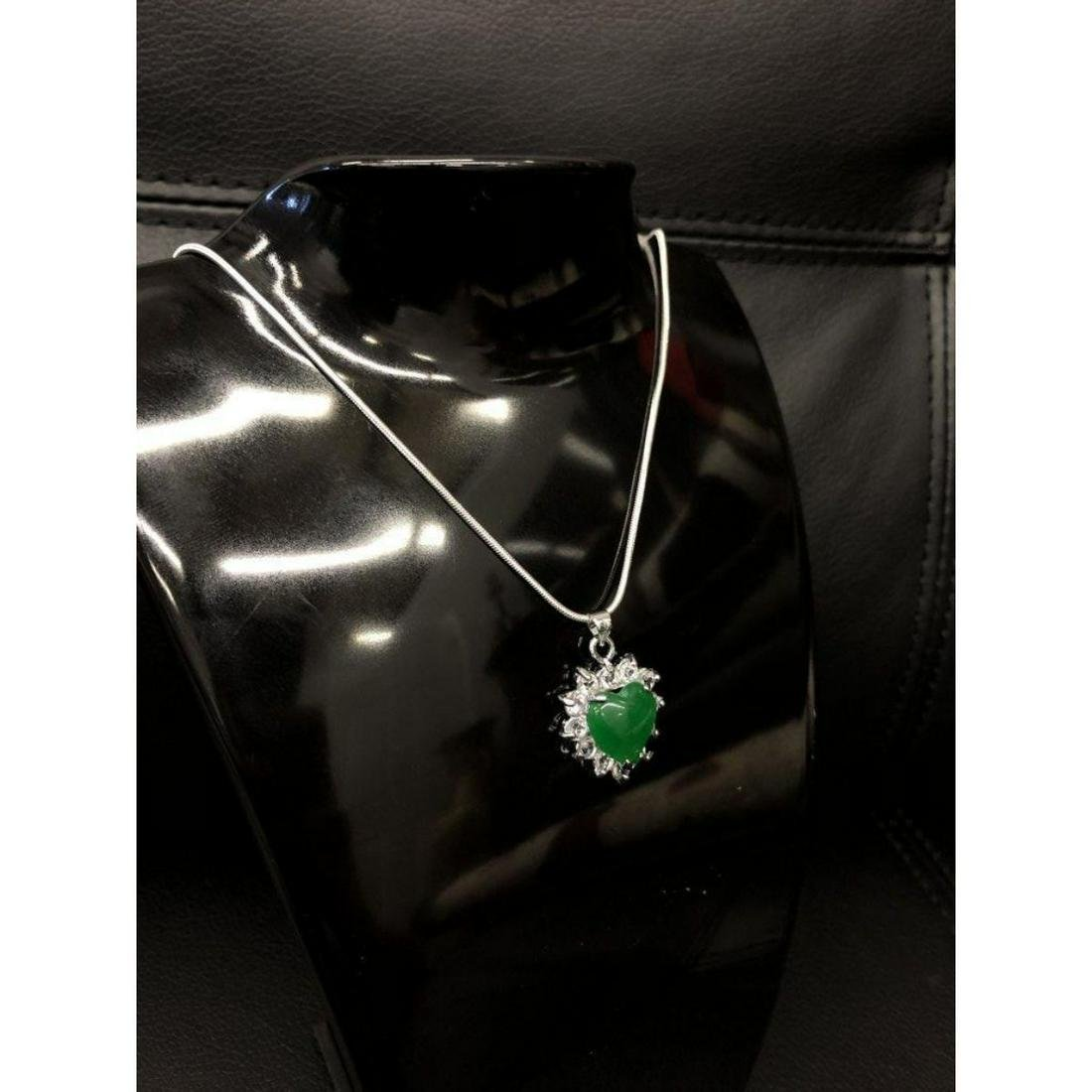 Mounted Green Jade Heart Shape Pendant On 925 Silver