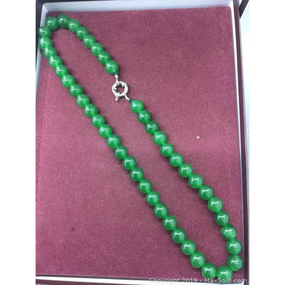 Elegant Large Jade Bead Necklace