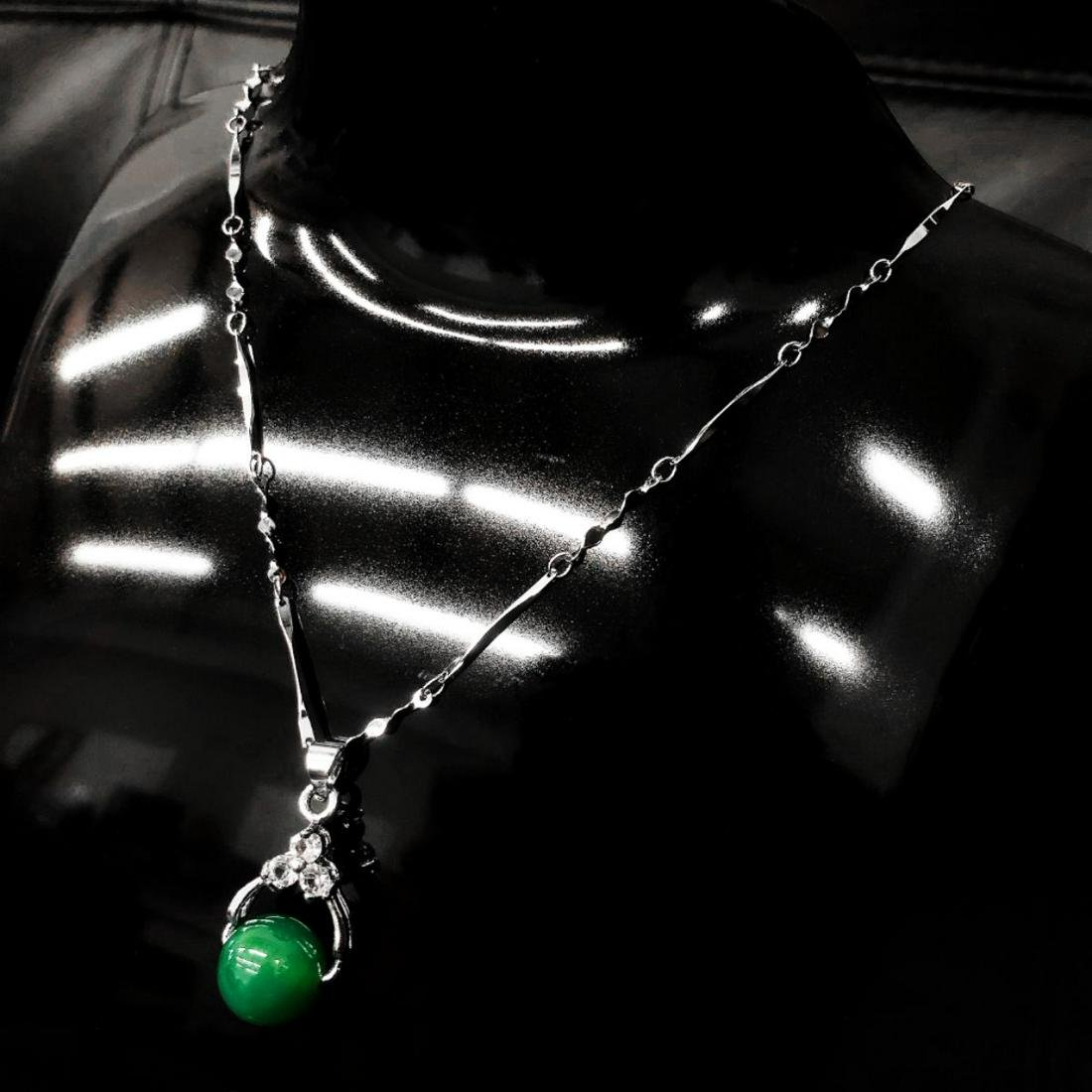 Asian Green Jade Pendant On 925 Silver Necklace