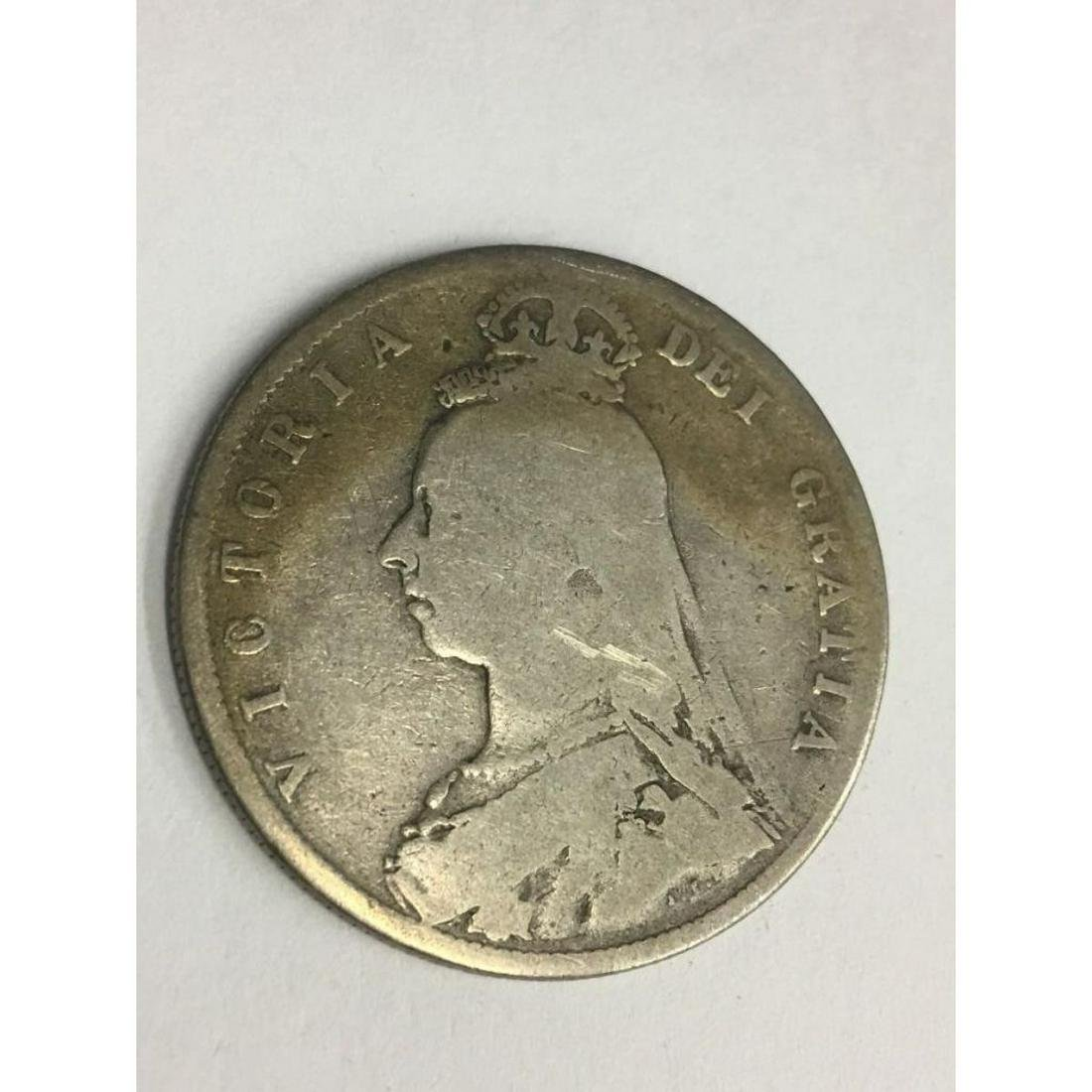 1888 Great Britain 1/2 Crown Coin 925 Silver