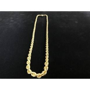 Ladies 14K Solid Yellow Gold Custom Made Tapered Rope