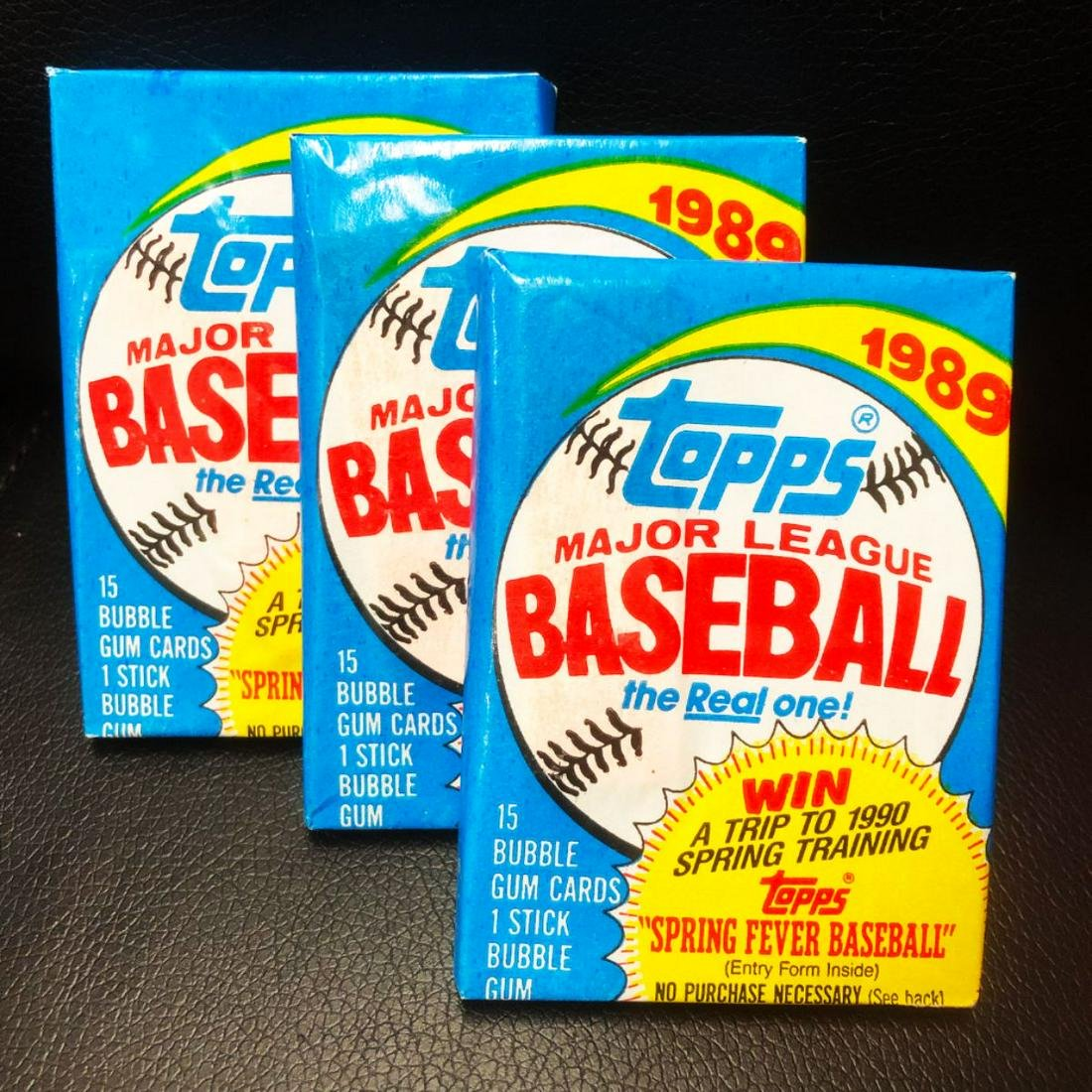 3 Vintage Topps 1989 Unopened Baseball Card Packs