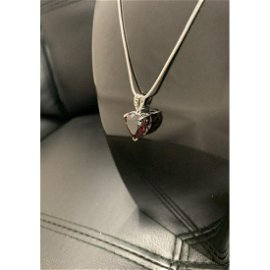Natural Heart Fire Red Garnet Gemstone Necklace Pendant