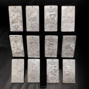 12 Zodiac Tibetan Silver Bullion Complete Set