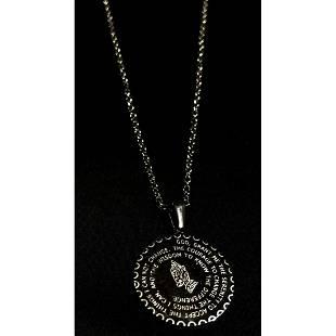 Silver Serenity Prayer Pendant Necklace