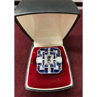 Ladies Blue And Silver Semi Precious Ring