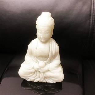 Asian Hand Carved White Jade Resting Buddha Figure