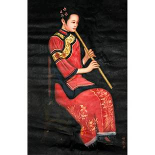 Oriental Oil On Canvas Signed Painting Of Musician