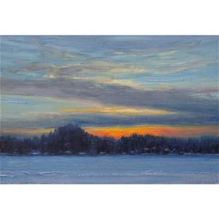Norman R Brown Original Oil On Panel Frozen Lake 8