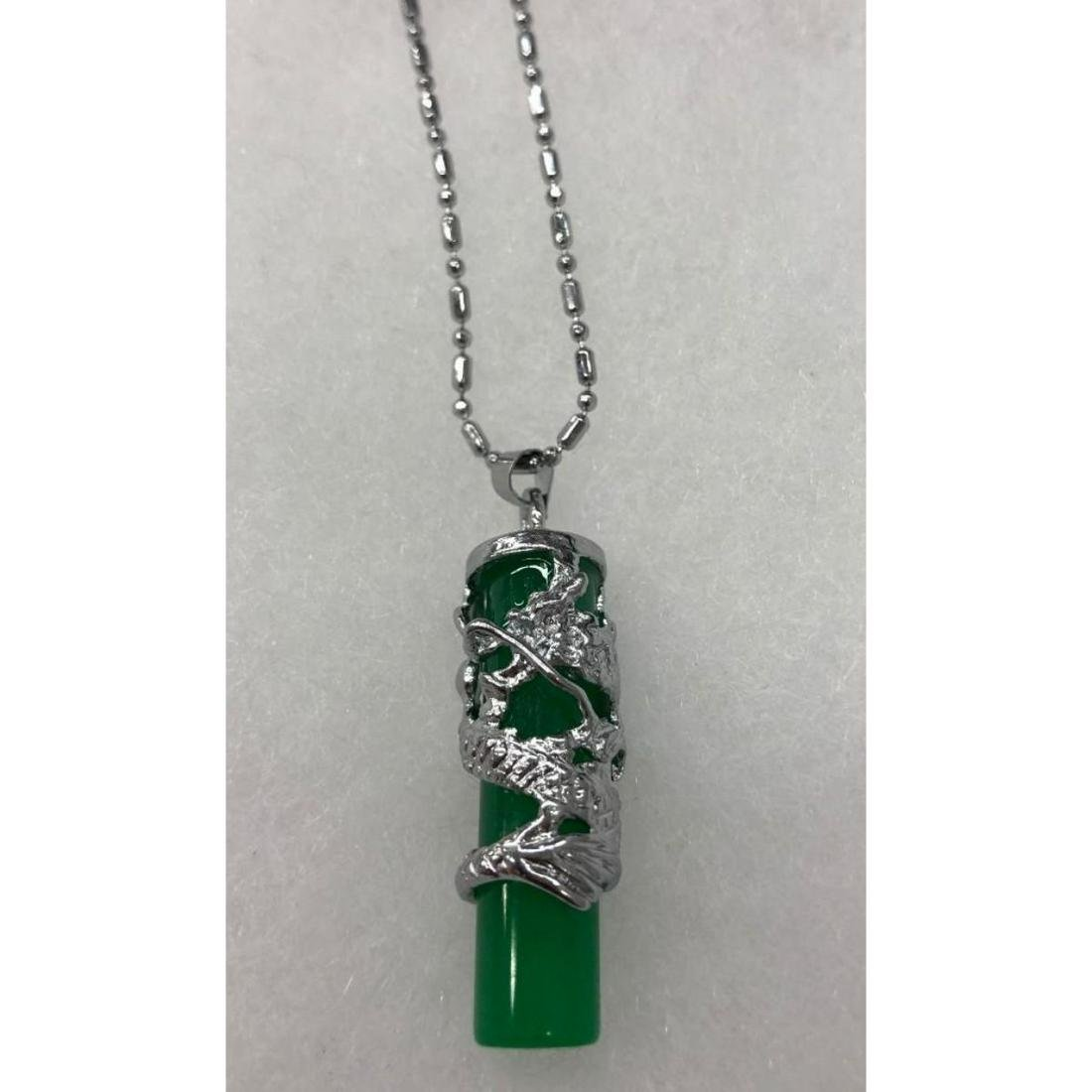 Stunning Asian Green Jade Dragon Pendant Necklace