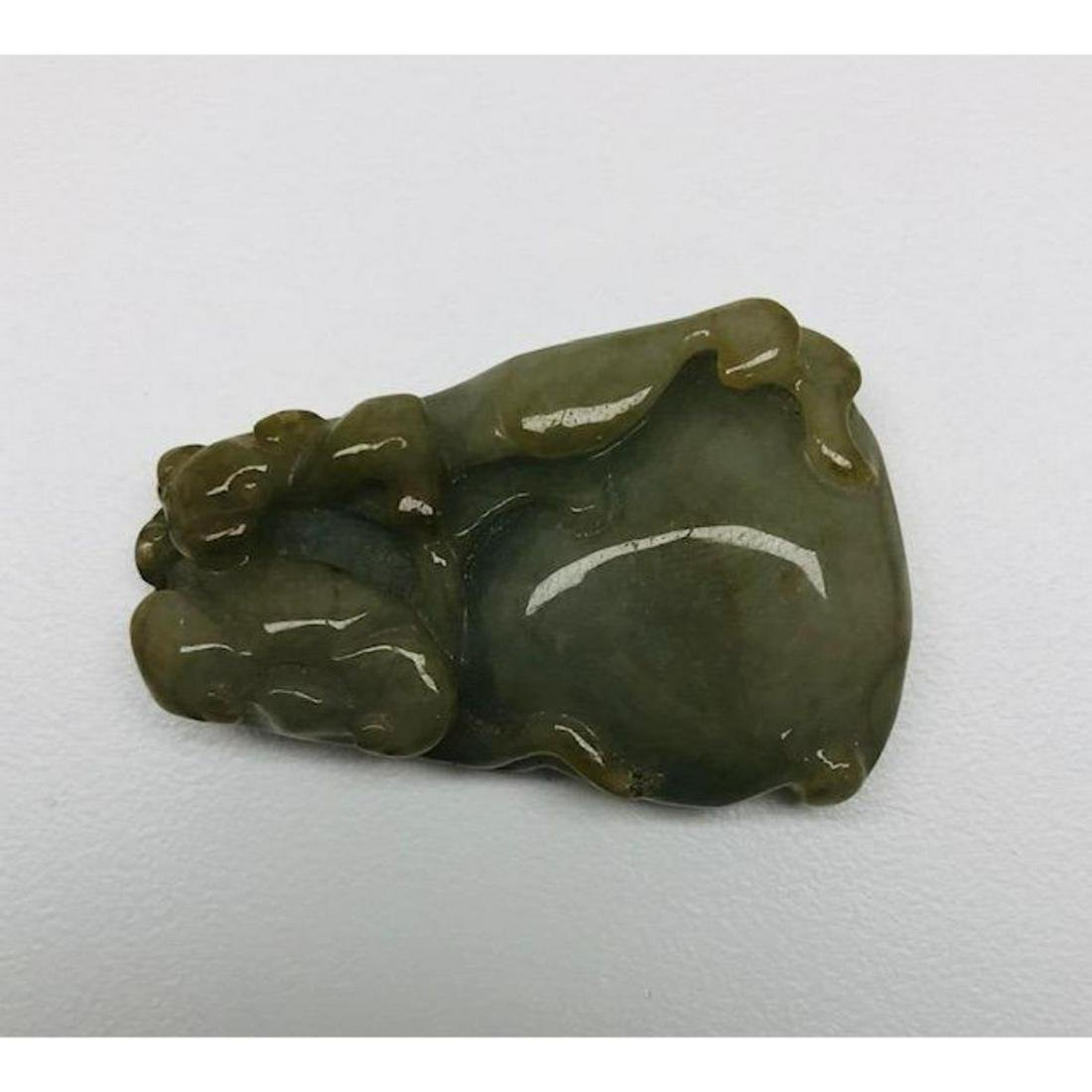 Chinese Hand Carved Green Jade Fruit Blossom And Bat
