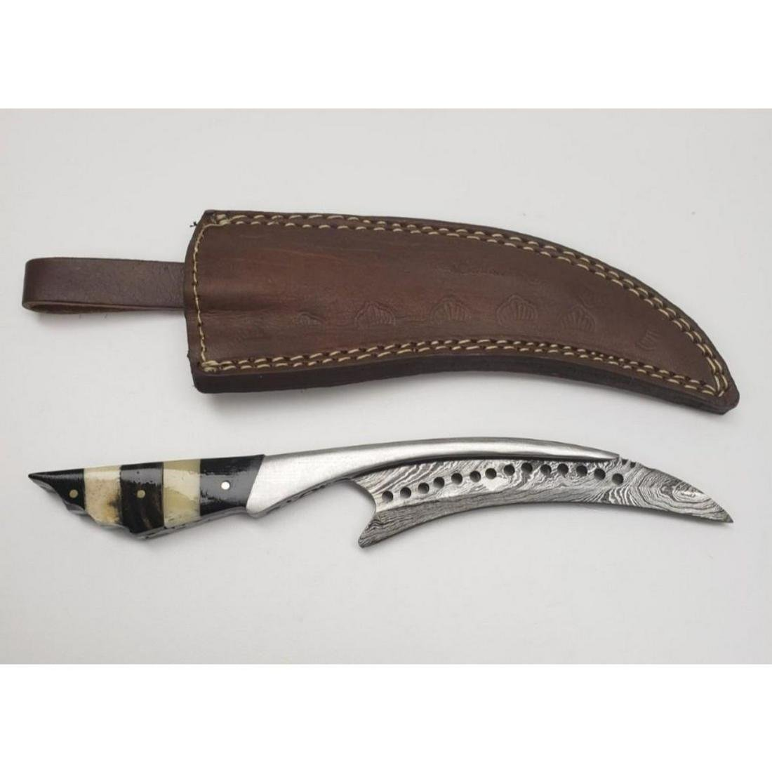 Damascus Full Tang Talon Blade With Carved Alabaster