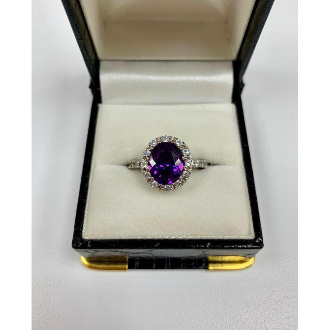 Brilliant Ladies size 6 Amethyst, Sterling Silver Ring