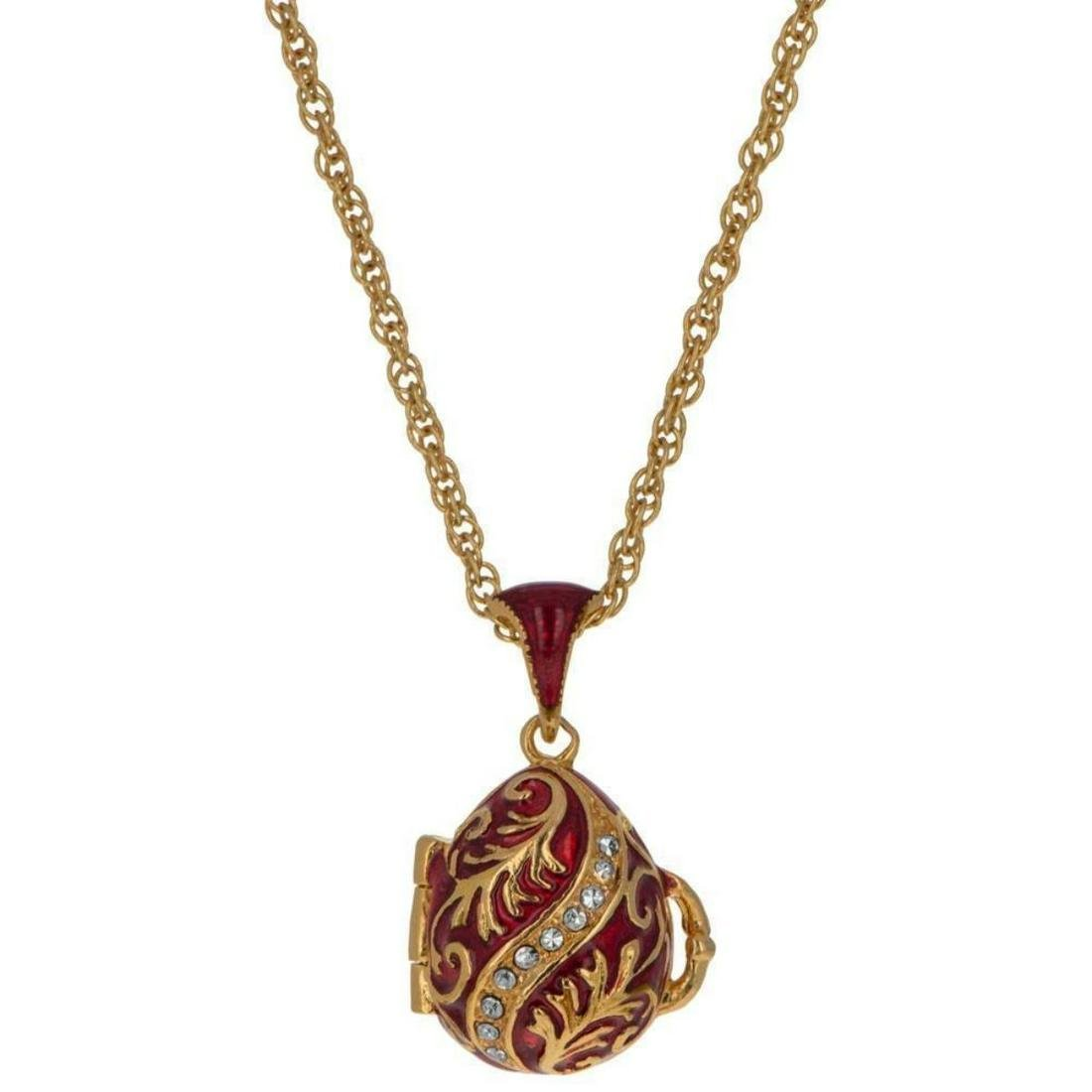 Red Enamel With Red Heart Royal Inspired Egg Pendant