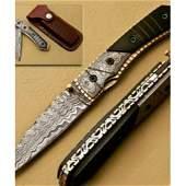 Blood Borns Folding Damascus Knife