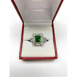 Ladies Synthetic Emerald Cut Emerald set in 925 Silver