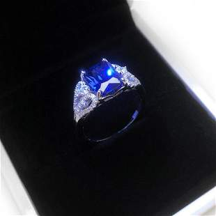 Exquisite Ladies Silver 925 Blue Stone Ring With LED