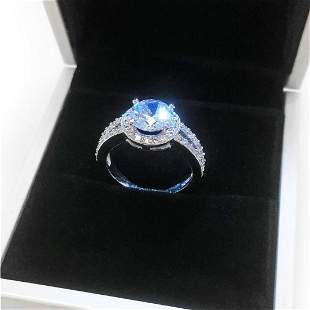 Ladies 925 Silver Marked 2 Carat Main Stone CZ Diamond