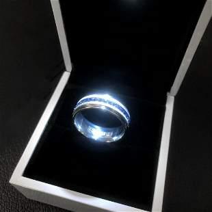 Titanium Steel Silver Blue Engagement Ring