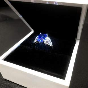 Exquisite Ladies Silver 925 Blue Tanzanite Ring With