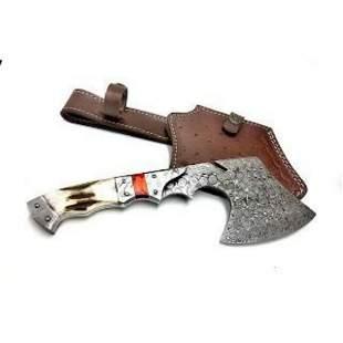 Handmade Damascus Steel Hunting Axe Chopper Knife