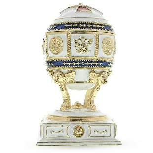 Red Cross on White Enamel Royal Inspired Russian Egg