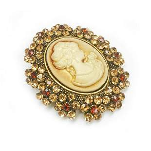 Ladies Silhouetted Rhinestone Cameo Pendant Broach