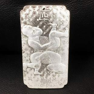 Tibetan Silver Semease Asian Marked Bullion Bar