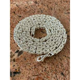 REAL Solid .925 Sterling Silver Byzantine Rope Chain