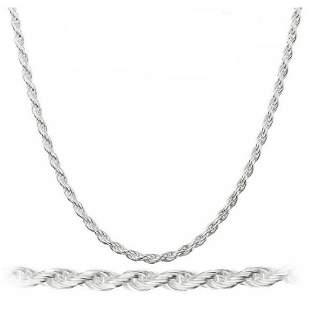 Men's Solid .925 Sterling Silver Rope Chain - Italian